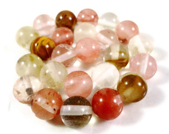 Tourmaline Gemstone Beads 10mm Round Watermelon Tourmaline Quartz Multicolor Semiprecious Stone Beads on a 7 Inch Strand with 18 Beads