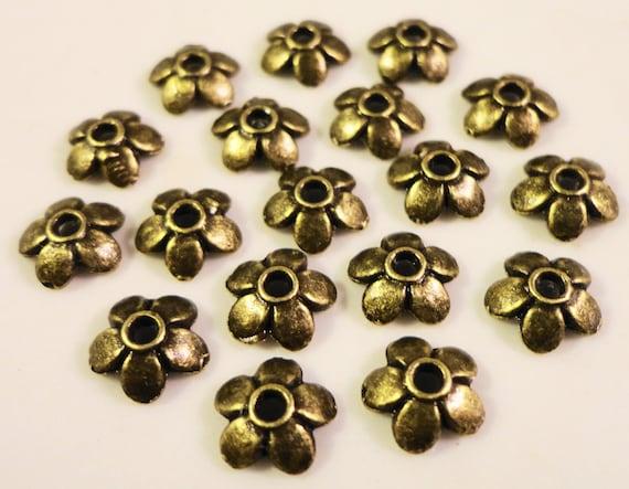 Brass Bead Caps 6mm Antique Brass Metal Flower Bead Caps Bronze Bead Caps Beadcaps End Caps Jewelry Making Findings Craft Supplies 75pcs