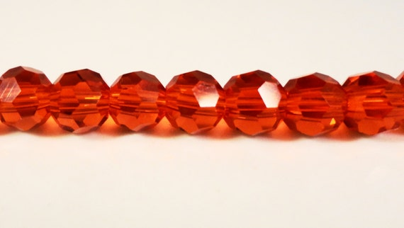 Red Crystal Beads 6mm Round Faceted Chinese Crystal Glass Beads for Jewelry Making on a 7 Inch Strand with 33 Beads