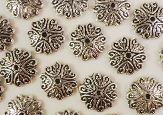 Silver Bead Caps 12mm Antique Silver Tone Metal Beadcaps End Cap Jewelry Making Findings Craft Supplies Fits 12-14mm Beads 25pcs