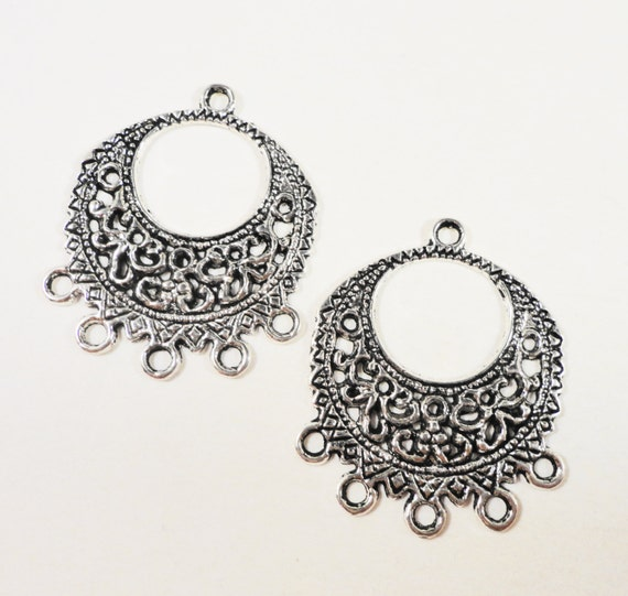 Chandelier Earring Connectors 31x26mm Antique Silver Connector Findings, 5 to 1 Connector Pendants, Connector Charms, Jewelry Findings, 6pcs