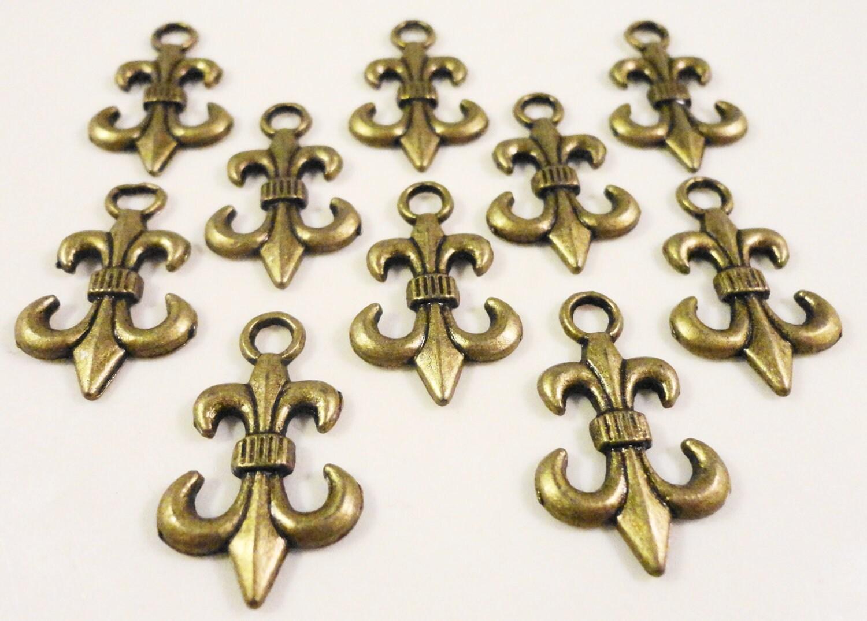 Bronze Fleur De Lis Charms 23x14mm Antique Brass Anchor Charms