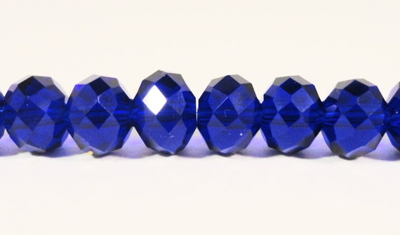 "Rondelle Crystal Beads 8x6mm (6x8mm) Royal Blue Faceted Chinese Crystal Glass Beads for Jewelry Making on an 8 1/2"" Strand with 35 Beads"