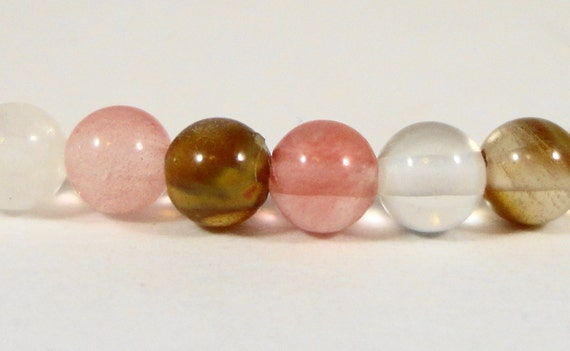 Watermelon Tourmaline Quartz Beads 4mm Round Small Multicolor Gemstone Beads, Stone Beads for Jewelry Making, 47 Loose Beads per Pack