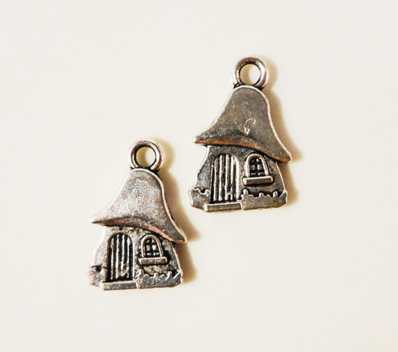 Silver House Charms 15x9mm Antique Silver House Charm Metal Alloy Fairytale Home Charms 2 Sided Mushroom House Pendants Jewelry Charms 10pcs