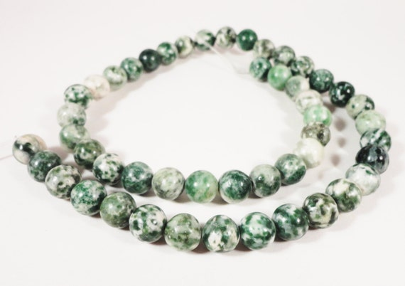 Tree Agate Gemstone Beads 8mm Round Green and White Spotted Natural Semiprecious Stone Beads on a Full 15 Inch Strand with 47 Beads