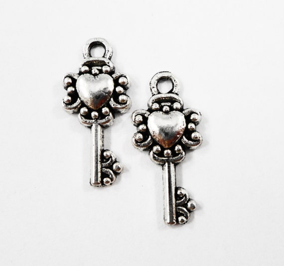Heart Key Charms 20x9mm Antique Silver Key Charms, Small Key Pendants, Silver Metal Charms, Heart Key Pendants, Craft Supplies, 10pcs