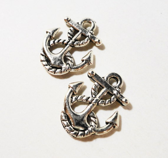Antique Silver Anchor Charms 16x14mm Nautical Charms, Silver Anchor Pendants, Ship Anchor Charm, Metal Charms for Jewelry Making 10pcs