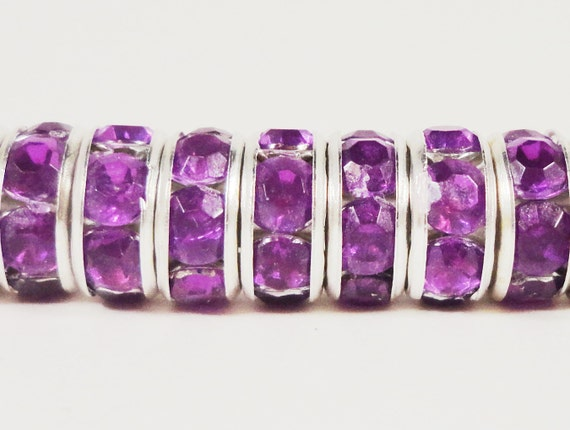 Rhinestone Rondelle Beads 8mm Pinkish-Purple Silver Plated Metal Acrylic Rhinestone Crystal Spacer Beads for Jewelry Making 50 Loose Beads