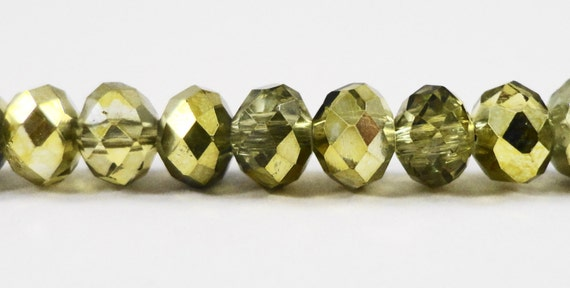 "Olive Green Crystal Beads 6x4mm Half Metallic Olivine Crystal Rondelle Beads, Chinese Crystal Glass Beads on an 8 3/4"" Strand with 50 Beads"