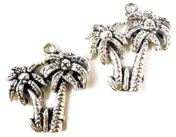 Palm Tree Charms 21x19mm Antique Silver Palm Tree Pendants, Silver Tree Charm, Tropical Charms Island Charms Metal Charms for Jewelry Making