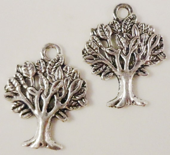 Silver Tree Charms 18x21mm Antique Silver Tone Metal Tree Nature Charm Pendants Lead Free Nickel Free Jewelry Findings 10pcs