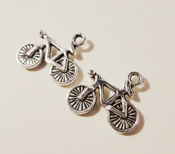 Silver Bicycle Charms 16x15mm Antique Silver Metal Mountain Bike Charm Bicycle Pendants Jewelry Making Jewelry Findings Craft Supplies 10pcs