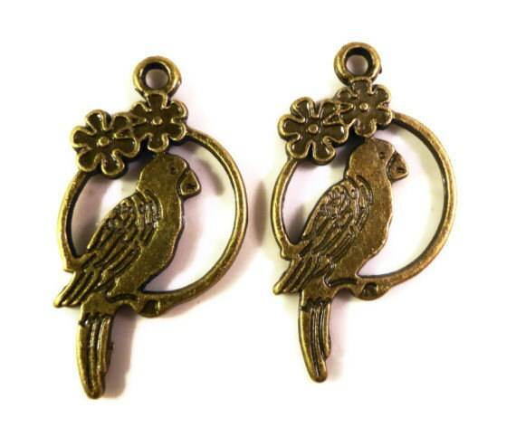 Bronze Parrot Charms 27x15mm Antique Brass Tone Metal (Bronze) Parrot Bird Double Sided Charm Pendant Jewelry Making Findings 10pcs