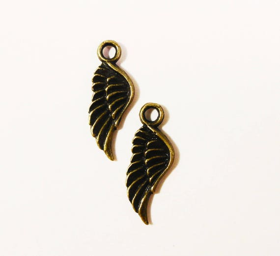 30pcs Bronze Wing Charms 21x8mm Antique Brass Wing Charms, Bronze Wing Pendants, Bronze Feather Charms, Wholesale Charms, Bulk Metal Charms