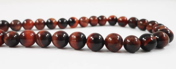 "15"" Strand Red Tigers Eye Beads 6mm Round Tiger Eye Beads, Natural Red Stone Beads, Tiger Eye Gemstone Beads on a Full Strand with 64 Beads"