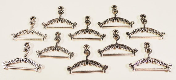 6pcs Clothes Hanger Charm Tibetan Silver Beads Finding Jewellery Making 23x17mm