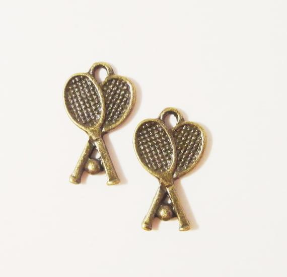 Tennis Racket Charms 17x9mm Antique Brass Metal (Bronze) Tennis Racquet Sport Charm Pendant Jewelry Making Jewelry Findings 10pcs