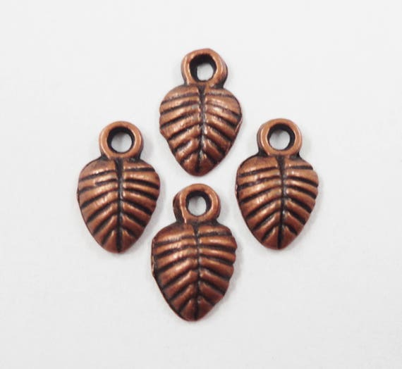 Small Copper Leaf Charms 9x5mm Antique Copper Charms, Tiny Leaf Pendants, Nature Charms Antique Copper Metal Charms for Jewelry Making 20pcs