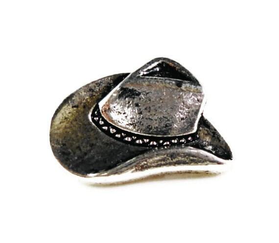 Cowboy Hat Buttons 16x6mm Antique Silver Tone Metal Shank Buttons, Western Buttons, Wrap Bracelet Buttons, Sewing Supplies, 5pcs