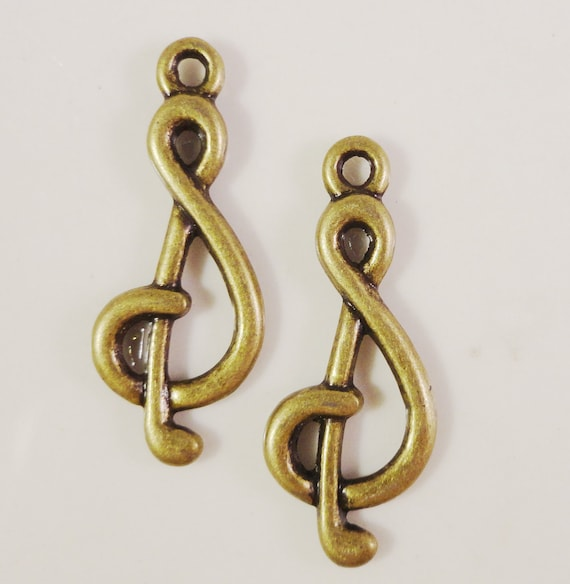 Music Note Charms 22x17mm Antique Brass Metal (Bronze) Music Charm Music Note Pendants Jewelry Making Necklace Charms Musician Charms 10pcs