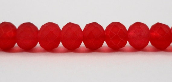 """Frosted Red Crystal Beads 6x4mm (4x6mm) Red Matte Crystal Beads Red Rondelle Beads, Chinese Crystal Glass Beads on a 9"""" Strand with 49 Beads"""