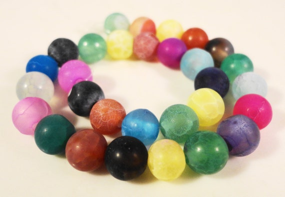 Agate Gemstone Beads 6mm Round Multi Color Frosted Matte Cracked Fire Agate Semiprecious Stone Beads on a 7 Inch Strand with 30 Beads