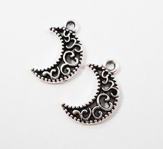 Antique Silver Moon Charms 17x10mm Crescent Moon Charms, Filigree Moon Charms, Small Moon Pendants, Metal Charms, Craft Supplies, 10pcs