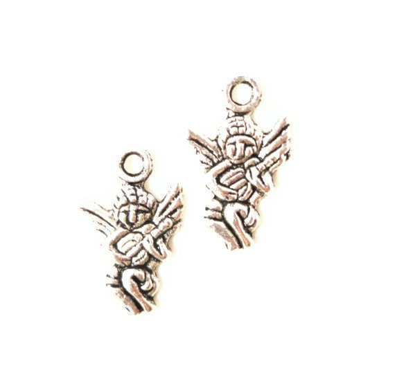 Silver Angel Charms 17x11mm Antique Silver Tone Metal Christmas Religious Charm Pendant Jewelry Making Findings 12pcs