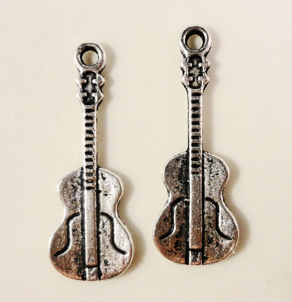 Silver Guitar Charms 26x9mm Antique Silver Metal Cello Musical Instrument Violin Charm Pendant Jewelry Making Findings Craft Supplies 10pcs