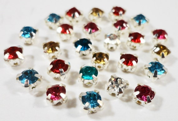 Rose Montee Beads 4mm Assorted Mixed Colors (Multicolors) Silver Plated Crystal Glass 4 Hole Sew on Rhinestone Beads, Chaton Montees 25pcs