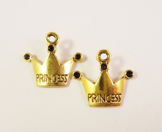 Gold Crown Charms 19x16mm Antique Gold Metal Princess Crown Charm Pendant Jewellery Making Jewelry Findings 10pcs