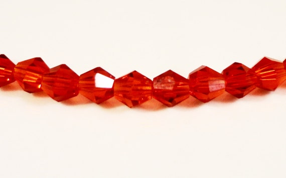 Red Bicone Crystal Beads 3mm Cherry Red Tiny Faceted Chinese Crystal Beads 100 Loose Beads per Pack