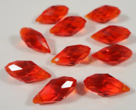 Briolette Crystal Beads 12x6mm Red Faceted Chinese Crystal Glass Teardrop Drop Crystal Beads for Jewelry Making 10 Loose Beads per Pack