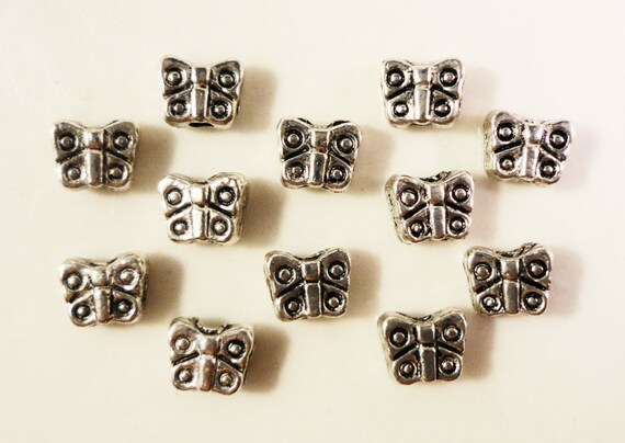 Silver Butterfly Beads 4x3mm Antique Silver Tone Metal Small Bug Insect Spacer Beads for Jewelry Making 50 Loose Beads per Pack