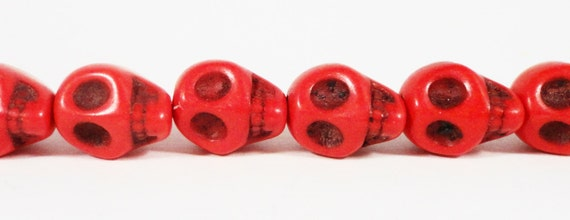 """Gemstone Skull Beads 10x8mm (8x10mm) Red Dyed Howlite Stone Halloween Day of the Dead Gothic Skeleton Beads on a 7 3/4"""" Strand with 20 Beads"""