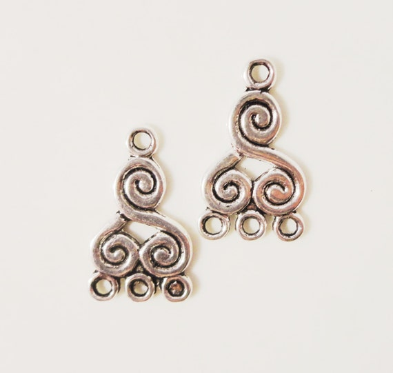 Silver Chandelier Earring Findings 21x13mm Antique Silver Metal Alloy Spiral Design 3 to 1 Earring Connector Charm Jewelry Findings 6pcs