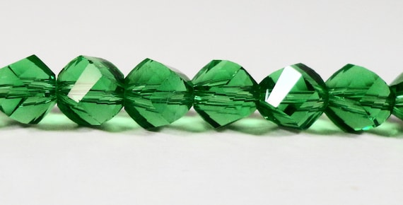 "Helix Crystal Beads 6mm Grass Green Faceted Twisted Crystal Beads, Chinese Crystal Glass Beads, Polygon Beads on a 7"" Strand with 33 Beads"