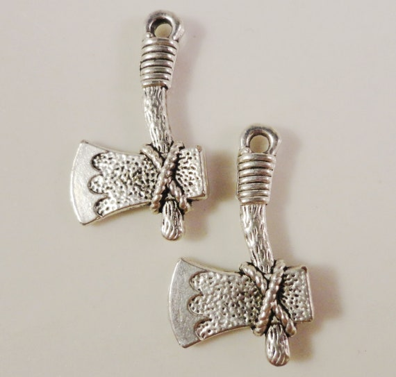 Silver Hatchet Charms 21x12mm Antique Silver Tomahawk Ax Charms, Tool Charms, Axe Charms, Ax Pendants, Double Sided Metal Charms, 10pc
