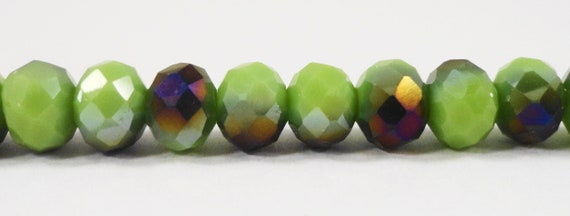 "Green Crystal Beads 6x4mm Opaque Olive Green Half Metallic Purple Rondelle Beads, Chinese Crystal Glass Beads on a 9"" Strand with 50 Beads"