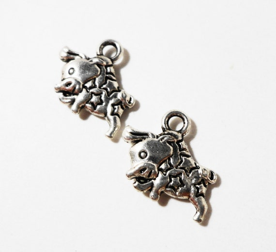 Silver Cow Charms 15x12mm Antique Silver Metal Cattle Charms Farm Animal Charms Double Sided Cow Pendant Jewelry Making Craft Supplies 10pc