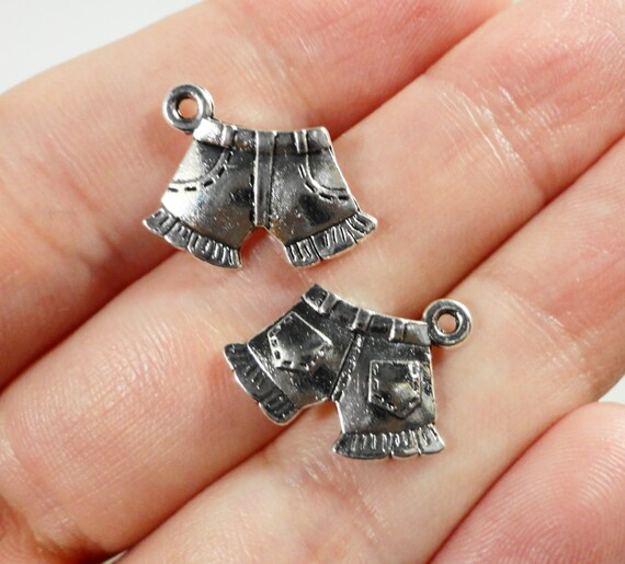 Silver Shorts Charms 17x11mm Antique Silver Jean Shorts Pendant,Summer Clothes Charms, Beach Charms, Metal Charms for Jewelry Making, 10pcs