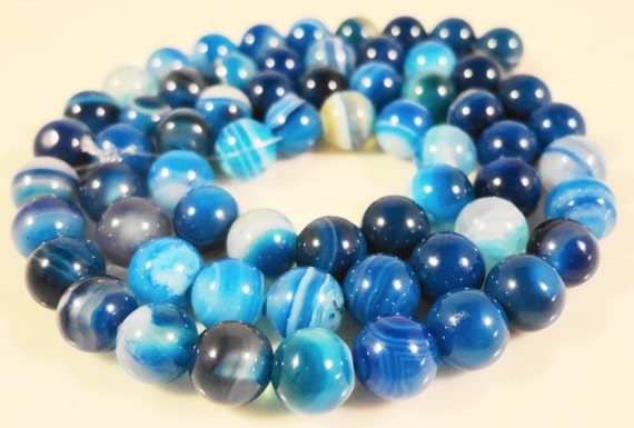 "15"" Strand Blue Agate Gemstone Beads 6mm Round Striped Agate Beads, Dyed Blue Stone Beads on a Full 15 Inch Strand with 62 Beads"