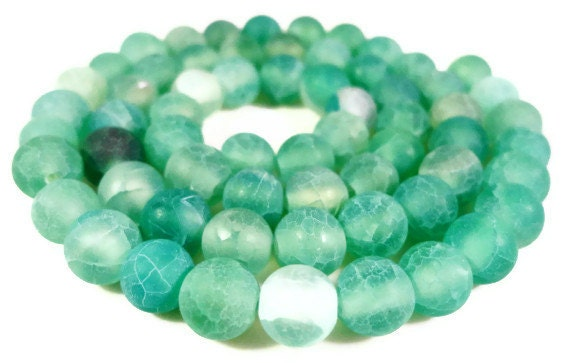 Green Agate Gemstone Beads 6mm Round Blue Green Frosted Matte Cracked Fire Agate Gemstone Beads on a Full 14 1/2 Inch Strand with 63 Beads