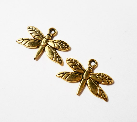 Gold Dragonfly Charms 19x15mm Antique Gold Metal Dragon Fly Flying Insect Bug Charm Dragonfly Pendant Jewelry Making Craft Supplies 10pcs