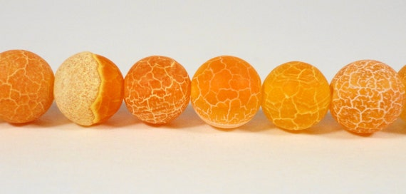 "Orange Agate Gemstone Beads 8mm Round Matte Frosted Cracked Fire Agate Dyed Stone Beads for Jewelry Making on a 7"" Strand with 23 Beads"