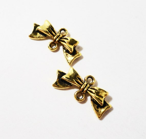 Gold Bow Connector Charms 20x9mm Antique Gold Bow Charms, Bow Connector Pendants, Hair Bow Charms, Earring Findings, Jewelry Findings, 10pcs