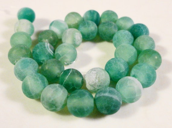 Green Agate Gemstone Beads 6mm Round Blue Green Frosted Matte Cracked Fire Agate Stone Beads on a 7 Inch Strand with 31 Beads