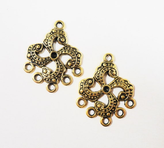 Gold Chandelier Connector 30x22mm Antique Gold 5 to 1 Connector Pendants, Earring Connectors, Jewelry Findings, Connector Charms, 6pcs