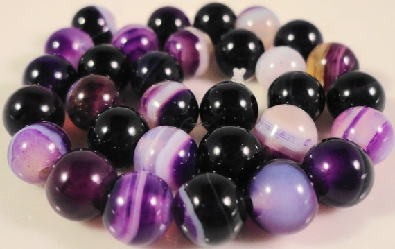 Purple Striped Agate Gemstone Beads 6mm Round Purple and White Striped Agate Stone Beads for Jewelry Making on a 7 Inch Strand with 31 Beads